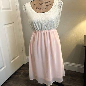 Dresses & Skirts - Cream lace and blush pink dress